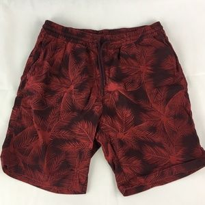 H&M Divided Shorts Red Palm Trees Print Size 32